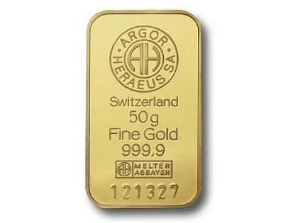 Argor Heraeus 50g Gold Bar Gold Bars 187 3signa