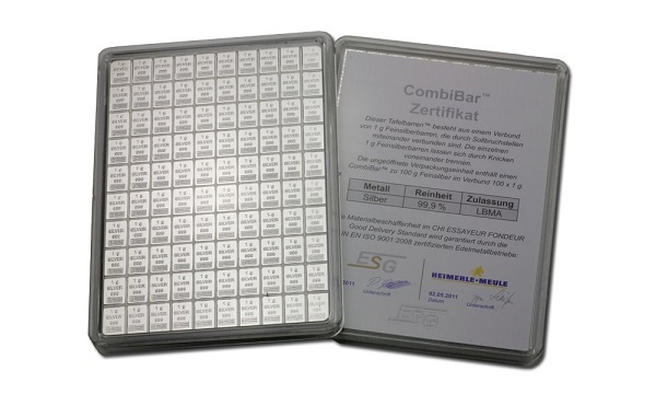 Combibar 100 X 1g Silver Bar 10 Pcs Investment