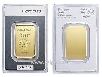 Heraeus 20g Gold Bar Gold Bars 187 3signa