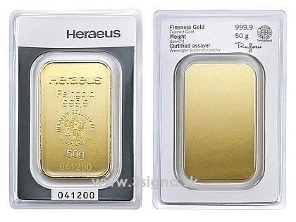 Heraeus 50g - Gold Bar | Gold Bars » Münze Österreich » 3Signa