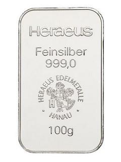 Argor Heraeus / Heraeus  100g - Stříbrný slitek