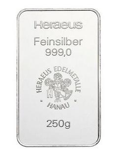 Argor Heraeus / Heraeus 250g - Stříbrný slitek