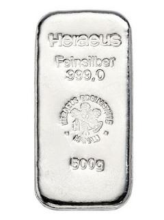 Argor Heraeus / Heraeus 500g - Stříbrný slitek