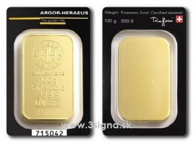 Argor Heraeus 100g - Zlatý slitek