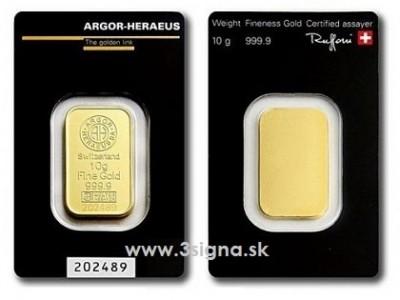 Argor Heraeus 10g - Zlatý slitek