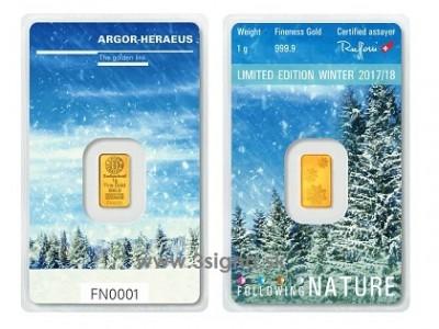 Argor Heraeus 1g Winter - Zlatý slitek