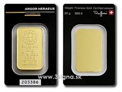 Argor Heraeus 20g - Zlatý slitek