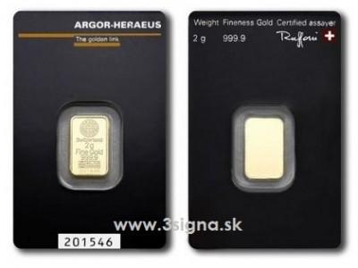 Argor Heraeus 2g - Zlatý slitek