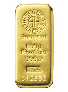 Argor Heraeus 500 g - Zlatý slitek