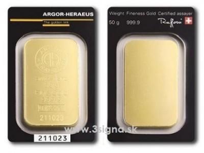 Argor Heraeus 50g - Zlatý slitek