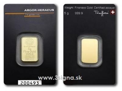 Argor Heraeus 5g - Zlatý slitek