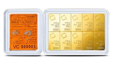CombiBar 10 x 3,11g - Zlatý slitek