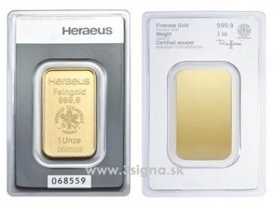 Heraeus 1 Oz - Zlatý slitek