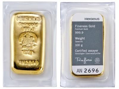 Heraeus 100g - Gold Bar