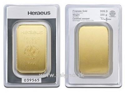 Heraeus 100g - Zlatý slitek