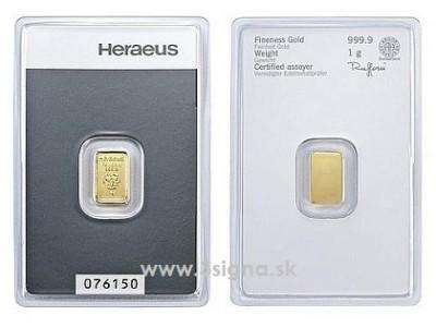 Heraeus 1g - Zlatý slitek