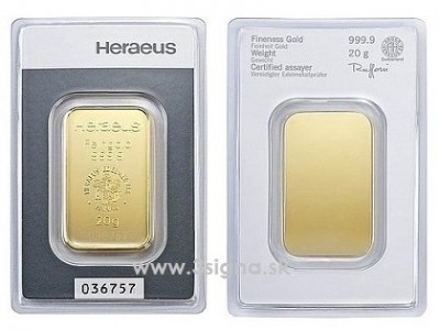 Heraeus 20g - Zlatý slitek