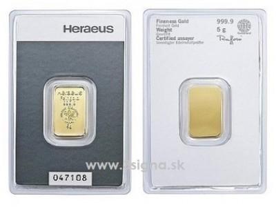 Heraeus 5g - Zlatý slitek