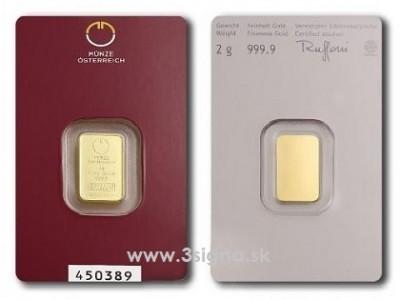Münze Österreich 2g - Zlatý slitek