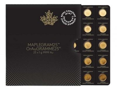 Maplegram25™ -  Zlatá mince 25 x 1g