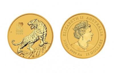 Tiger 2022 1/10 Oz - Zlatá mince